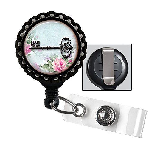 Antique Black Key and Roses retractable badge reel