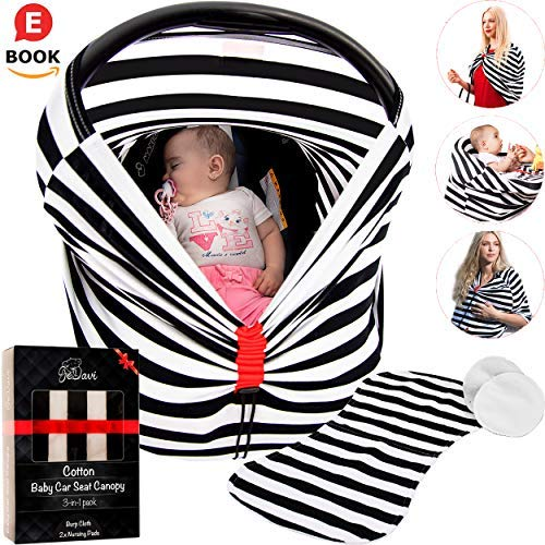 Unique Multi Use Carseat Canopy - with OVERHEAT SOLUTION | Superior Quality Soft Cotton | Reliable As Breast Feeding Cover Ups , Baby Car Seat Cover Or Nursing Scarf