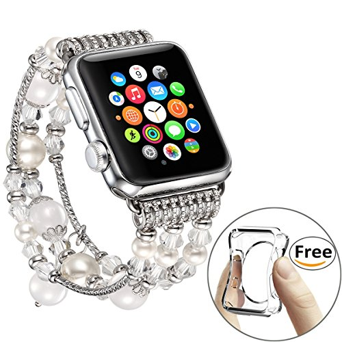 ple Watch Band 42mm, Bling White Beaded Faux Agate Bracelet Compatible iWatch Strap Women Compatible Apple Watch Series 1 Series 2 Series 3 (White - 42mm) ()
