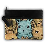 Bing4Bing Double-deck Watercolor Rabbits Slice Before Printing Jewelry Bag Cosmetic Bag Toiletries Bag