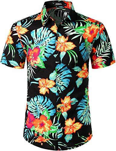 JOGAL Men's Flower Casual Button Down Short Sleeve Hawaiian Shirt (Black Hibiscus, XX-Large)