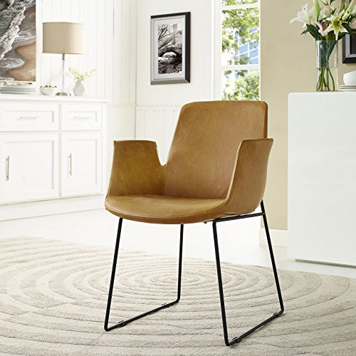 Modway EEI-1806-TAN Aloft Mid-Century Modern Leather, Dining Armchair, Tan by Modway (Image #5)