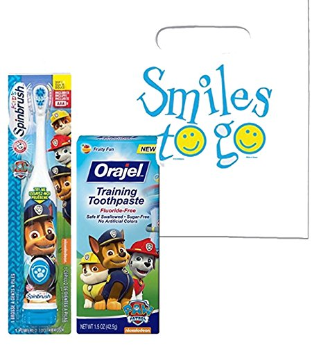 """Paw Patrol """"Chase Is On The Case"""" 2pc. Little Pup's Oral Hygiene Set! Paw Patrol Turbo Power Spin Toothbrush & Fluoride Free Training Toothpaste! Plus Bonus Tooth Saver Visual Aid!"""