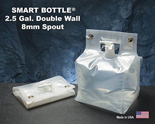 Smart Bottle 2.5 Gallon Collapsible Water Container with White 8mm Spout. The only double wall flexible container designed for rugged, heavy use. BPA Free