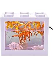 Aquarium Fish Tank Decorative Mini Aquarium USB LED Light Lamp Fish Tank Desktop Lamp Fish Tank for Box Office Tea Table Decor(White)