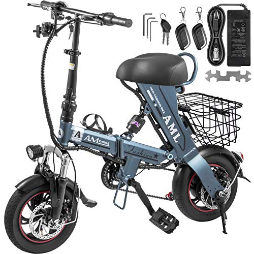 Mophorn Foldable Electric Bike with Basket 36V 12AH Folding Electric Bicycle 400W Powerful Motor E-Bike with 27-34 Miles Range Dual-Disc-Brakes Grey