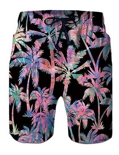 TUONROAD Mens 80's Quick Dry 3D Printed Fancy Beach Shorts Tropical Beach Coconut Palm Tree Casual Style Surfing Board Shorts Teens Plus Size Swimming Trunks with Side Pockets