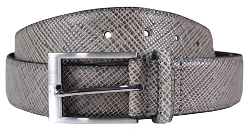 Leather Snake Genuine Belt (Chocolate Pickle New Mens Bonded Genuine Leather Snake Skin Textured 35mm Wide Buckle Belts Grey)