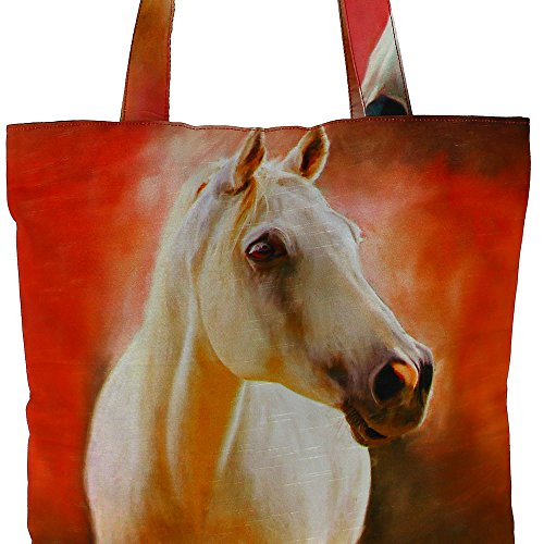 Digital stampato multiuso Moda Shopping Bag - Colorful cavallo di seta del faux Tote Bag con Polysatin Fodera