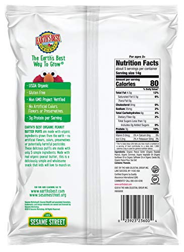 Earth's Best Organic Peanut Butter Baked Corn Puffs, 2.5 oz. (Pack of 6) by Earth's Best (Image #2)