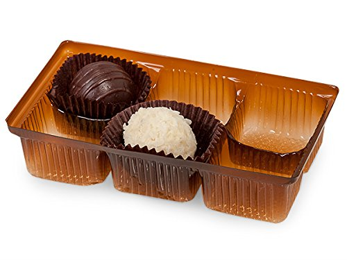 Pack Of 200, 4.5 X 2.75 X 1'' Small Rectangle Solid Chocolate Brown Candy Trays W/6 Sections