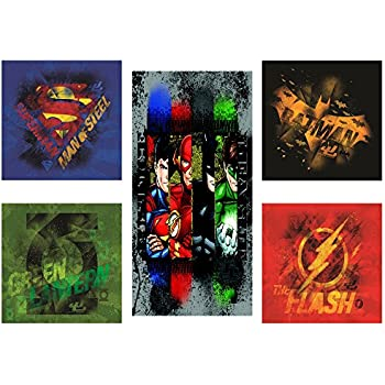 Justice League 5 Piece Canvas Wall Art Set Featuring Superhero Character Designs of Superman, Batman, Green Lantern and Flash Gordon, Multicolored