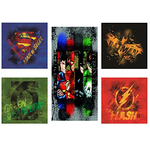 Modern Littles Justice League 5 Piece Canvas Wall Art Set Featuring Superhero Character Designs of Superman, Batman, Green Lantern and Flash Gordon, (Boys Room Wall Decor)