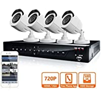 LaView 4 HD 720P Camera Security System, 8 Channel 720P HD-TVI DVR w/500GB HDD and 4 720P HD White Bullet Surveillance Camera Kit