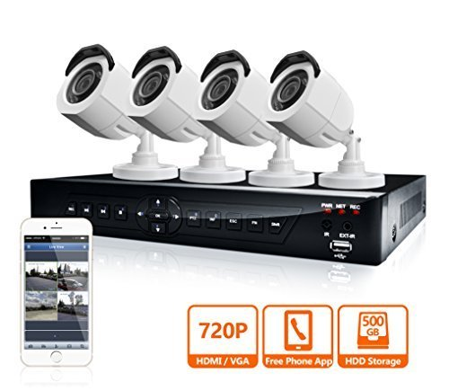 P HD DVR Security System with 500GB Surveillance HDD and 4 x 720P Day/Night Bullet Cameras (White) LV-KDT0804B7W-500GB ()