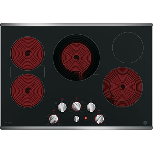 GE PP7030SJSS 30 Inch Electric Cooktop with 5 Radiant, Bridge SyncBurners, 9 6 Inch Power Boil Element, Keep Warm Setting, Red LED Backlit Knobs, ADA Compliant Fits Guarantee