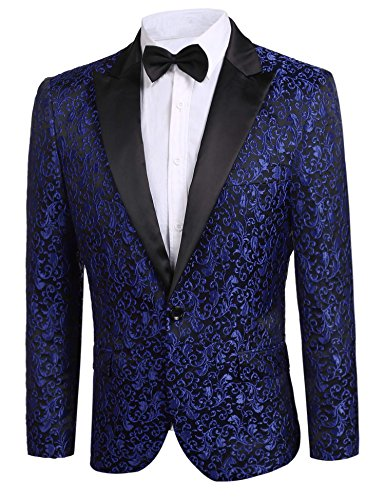 Donet Men's Floral Party Dress Suit Notched Lapel Stylish Dinner Jacket Wedding Blazer Prom Tuxedo Blue XX-Large