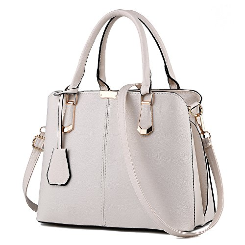 FiveloveTwo Womens Satchel Handbag Tote Purse Top Handle Shoulder Bags and Purse Beige