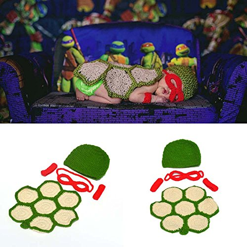 Osye Baby Crochet Knitted Outfit Turtle Costume Set Photography Photo Props (Red) -