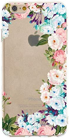TPU Crystal Clear Cover for iPhone 6S Plus 6 Plus,Transparent Soft Colorful Flexible Plastic Durable Rubber with Creative Shockproof Back Bumper Exact-Fit Drop Protection
