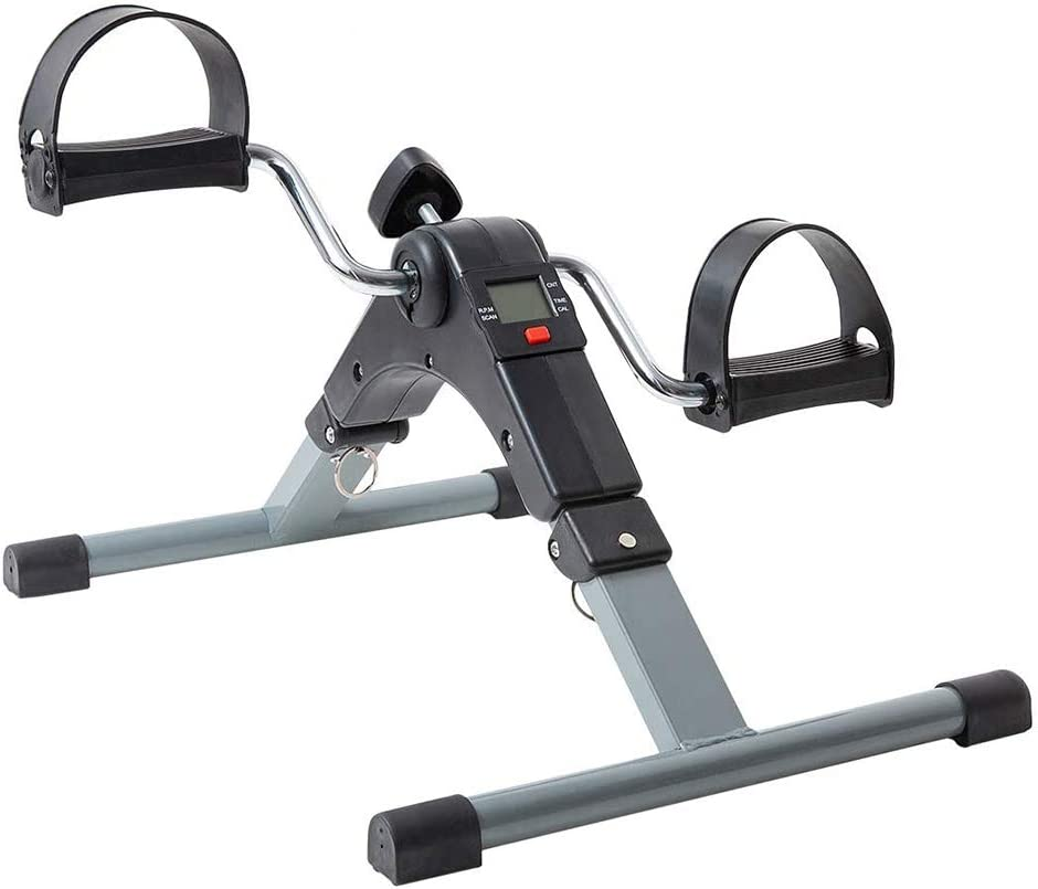 Portable Fitness Pedal Exerciser Bike, Adjustable Resistance Stepping Trainer, with Digital Display, for Arm Leg - Home Office