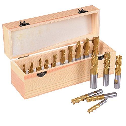"""Goplus End Mill Set 20 pcs 4 & 2 Flute HSS Titanium Tin Coated Square 3/16""""- 3/4"""""""