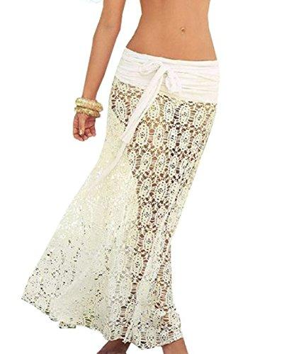 Moxeay Women Bikini Swimwear Cover up Mesh Hollow Out Lace Crochet Dress (One Size, White)
