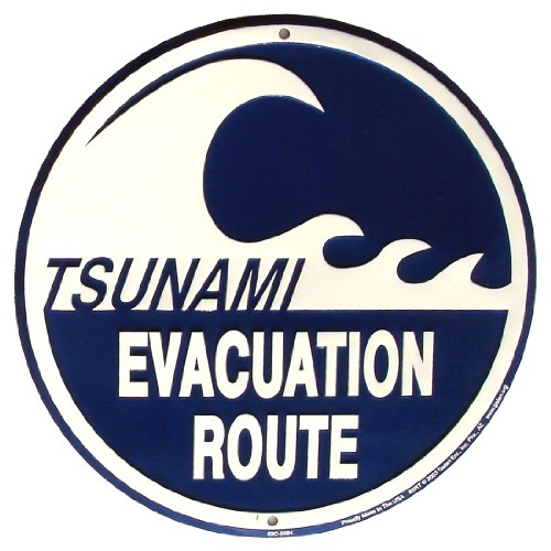 Tsunami Evacuation Route Metal Sign Warning Wave Beach Road Plaque - Hurricane Evacuation Sign