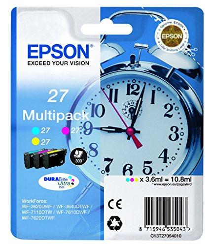 Epson T2705 Tintenpatrone Wecker, wisch- und wasserfeste Tinte (Multipack 3-farbig) (CYM)