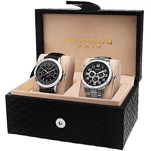 Akribos XXIV Men's AK740SSB Silver-Tone Watch Set 2 Piece Watch Set