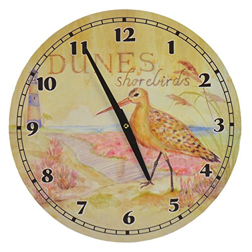 Beach-Themed-Hanging-Wall-Clock-Dunes-Shorebirds