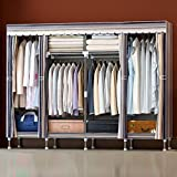 LaaLaa Home wardrobe hangers storage Standing 2.5CM Detachable and Steel Pipe Lightweight Clothing Closet Organizer Extra Strong and Durable Product size:250cm175cm46cm,A