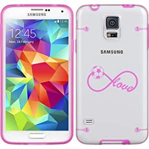 Hot Pink Samsung Galaxy Ultra Thin Transparent Clear Hard TPU Case Cover Infinite Infinity Love for Soccer (Hot Pink for S4)
