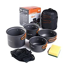 NatureHike 2-3 persons Outdoor Pot Sets 4 in 1 Camping Cookware Portable Picnic Pot and Pan