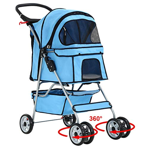 New 4 Wheels Pet Stroller Cat Dog Cage Stroller Travel Folding Carrier 04T
