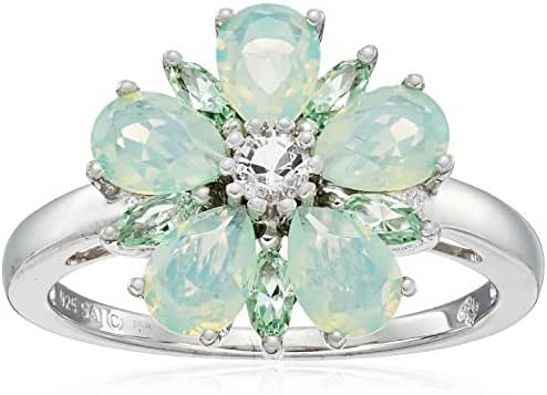 Sterling Silver Swarovski Chrysolite Opal Crystal and Clear Crystal Flower Ring, Size 8