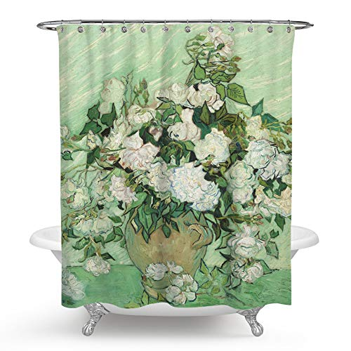 QCWN Vincent Van Gogh Shower Curtain,Oil Painting Rose Flower 1890 Dutch Post Impressionist Shower Curtain Set with Hooks for Bathroom Décor.Green White ()