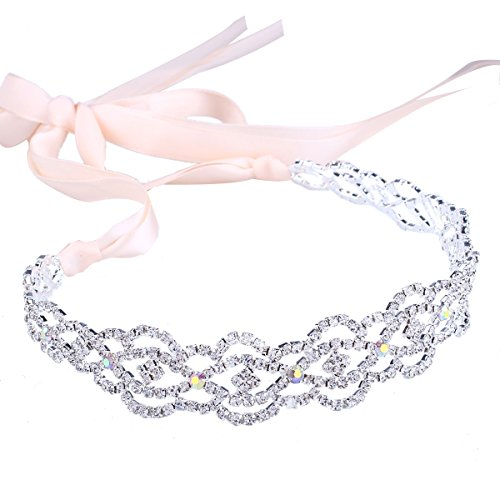 Santfe Fashion Crystal Rhinestone Gold/Silver Plated 3 in 1 Jewelry Headband Necklace Waist Chain,Great for Wedding Bridal Bridesmaid Prom (style 7) (Band Necklace)