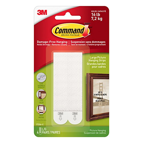 Command 17206C Picture Hanging Strips, Large, White, 4 Pairs