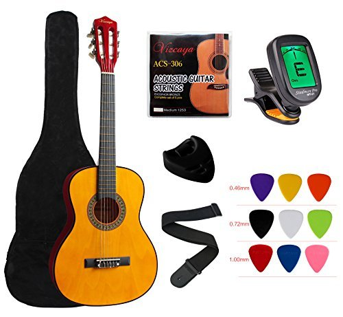 """YMC Classical Guitar 1/2 Size 34"""" Inch Nylon Strings Classical Acoustic Guitar Starter Pack With Carrying Case & Accessories for Beginner Students Children-Natural"""