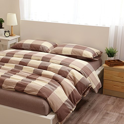 80%OFF Libaoge 4 Piece Bed Sheets Set, Green Grey White Checkered Print,