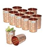 Set Of 12 - Prisha India Craft  Copper Cup Water Tumbler - Handmade Water Glasses - Traveler's Copper Mug For Ayurveda Benefits - Christmas Gift Item