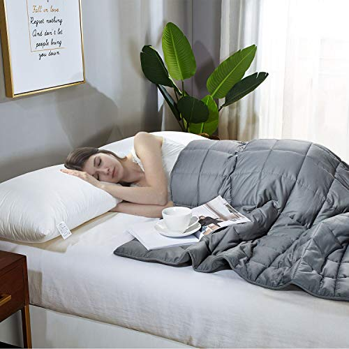 Weighted Blanket with Cotton Material and for Adult-Dark Grey