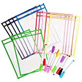 12 Dry Erase Pockets with 12 Free Pens, Oversize 10'' x 13'' Pockets, Perfect for Classroom and Office Organization, Reusable Dry Erase Pockets, Teaching Supplies