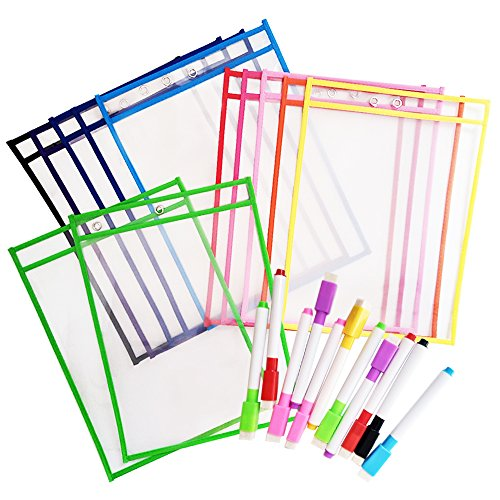 12 Dry Erase Pockets with 12 Free Pens, Oversize 10'' x 13'' Pockets, Perfect for Classroom and Office Organization, Reusable Dry Erase Pockets, Teaching Supplies by Herdro