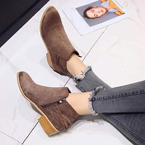 Quicklyly Otoño Punto zapatos 2018 Martim Cortas señoras Sólido Moda Tobillo Adulto Bootie Para Botas Mujer invierno De Flock La Marrón botines rgfrqZ0w