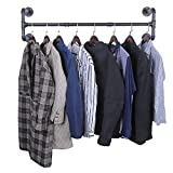 OROPY Industrial Pipe Clothes Rack, Heavy Duty Detachable Wall Mounted Black Iron Garment Bar, Multi-Purpose Hanging Rod for Closet Storage, Black (Four Base, 41')