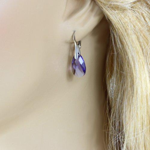 Boucles d'oreilles argent avec véritable Swarovski® Elements, gouttes, violet, 16 mm, avec étui de bijoux, idéal comme cadeau pour une femme ou une petite amie