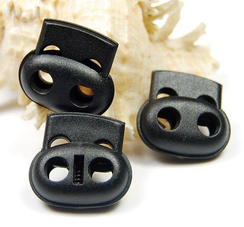 50pcs Plastic 5mm Hole Cord Lock Bean Toggle Clip Stopper Black 25mmx23mm Sportswear Garment Bags Paracord Bracelet Rope Parts Accessories