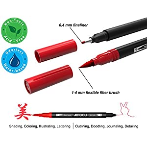 Dual Tip Brush Pens Art Markers 36 Color Set Canvas Organizer Case Flexible Brush and 0.4mm Fineliner - Coloring Journaling Lettering Drawing Sketching Designing Illustration Planner Manga Doodling